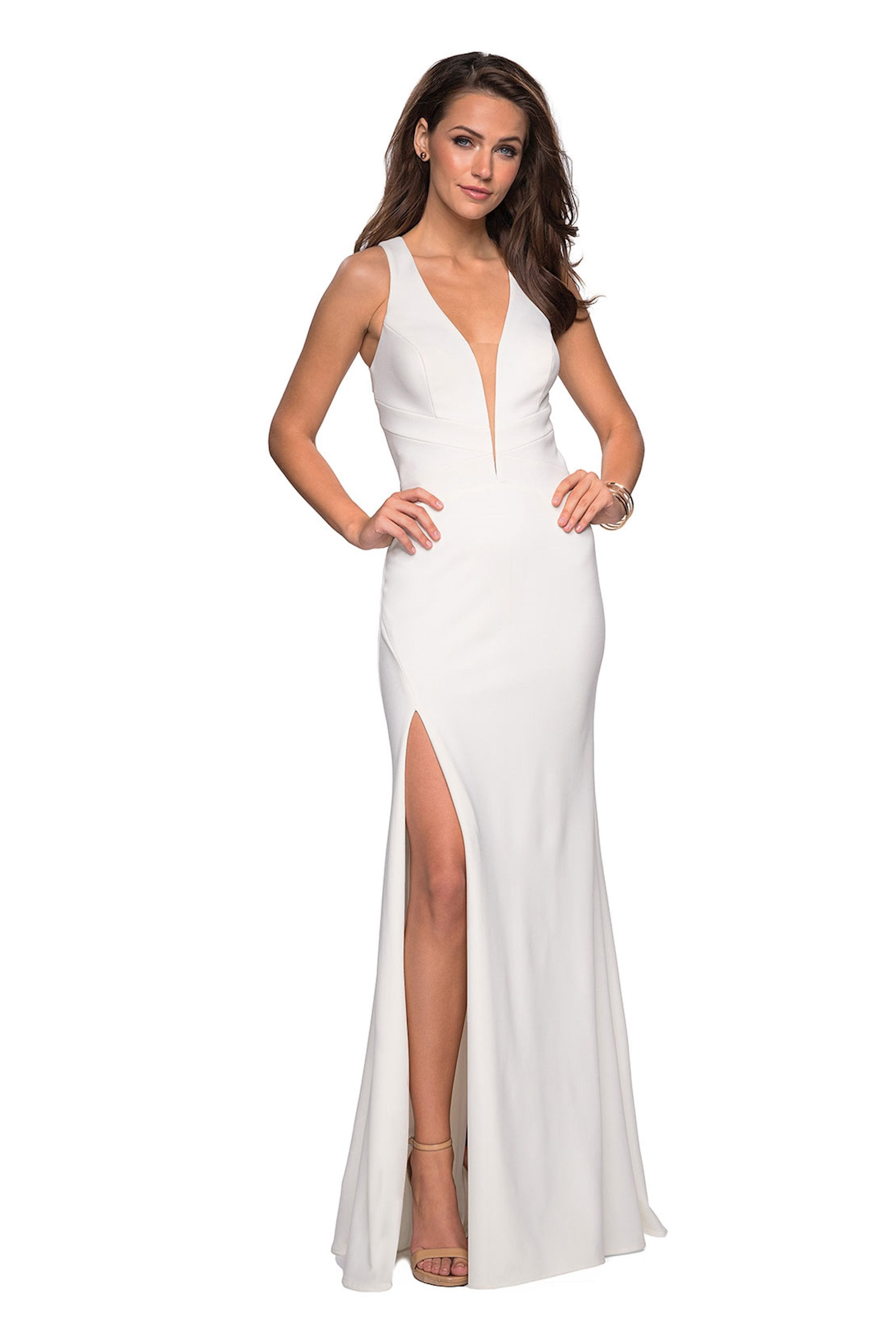 La Femme - Double Cross-Strapped High Slit Gown 27082 In White