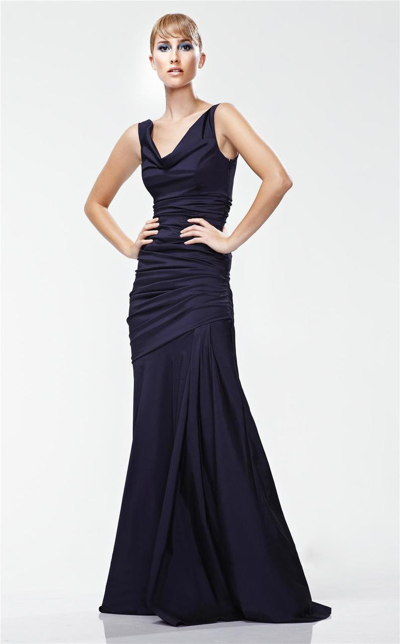Theia - 881195 Asymmetric Cowl Neck Mermaid Taffeta Gown in Black
