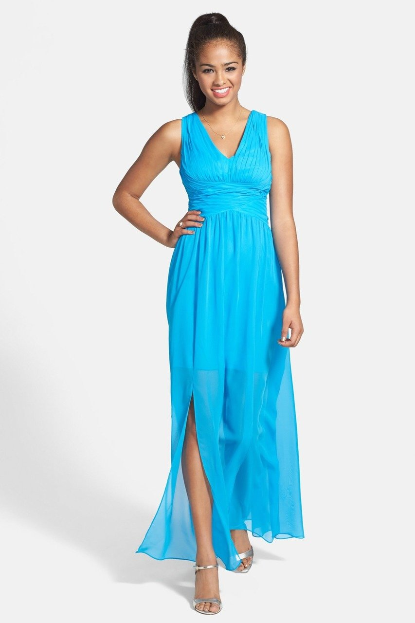 Adrianna Papell - Pleated Bodice Chiffon Dress 231M55220 in Blue
