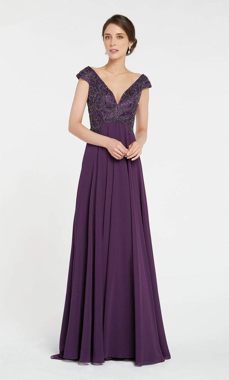 Alyce Paris - 27246 V-neck Empire Waist Chiffon A-line Dress 2 Pc Deep Claret Red in size 4 and Aubergine in size 20 Available