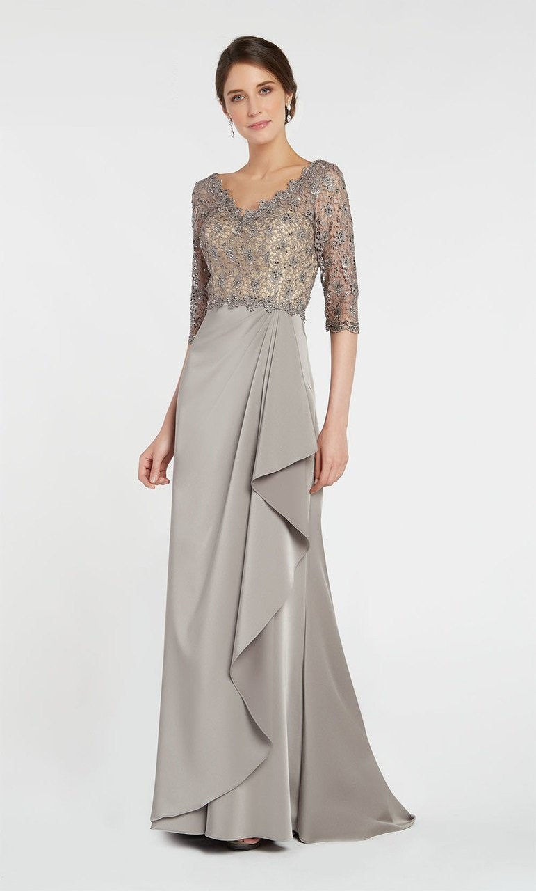 Alyce Paris - 27260 Beaded Lace V Neck Cascading Ruffle Stretch Crepe Gown In Neutral
