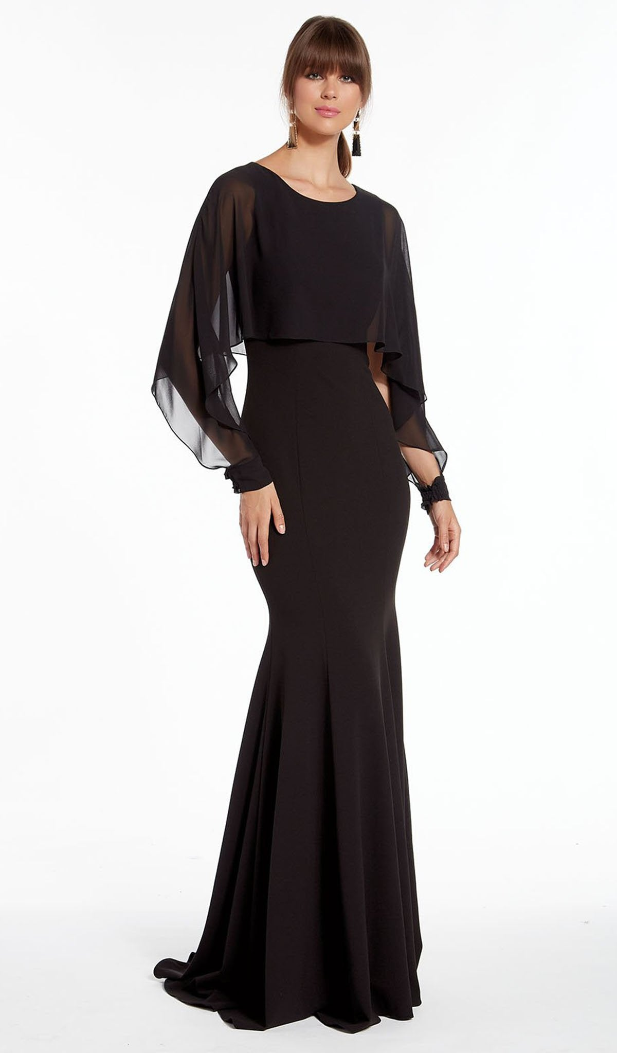 Alyce Paris - 27294 Split Long Sleeve Caped Trumpet Gown Special Occasion Dress 000 / Black