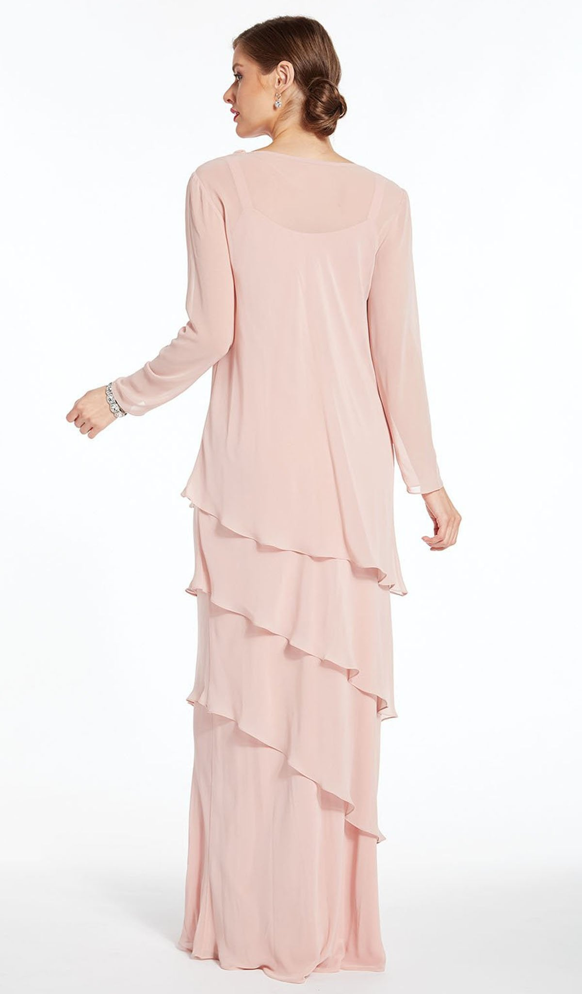 Alyce Paris - Long Sleeve Cowl Neck Tiered Sheath Gown 27298 In Pink