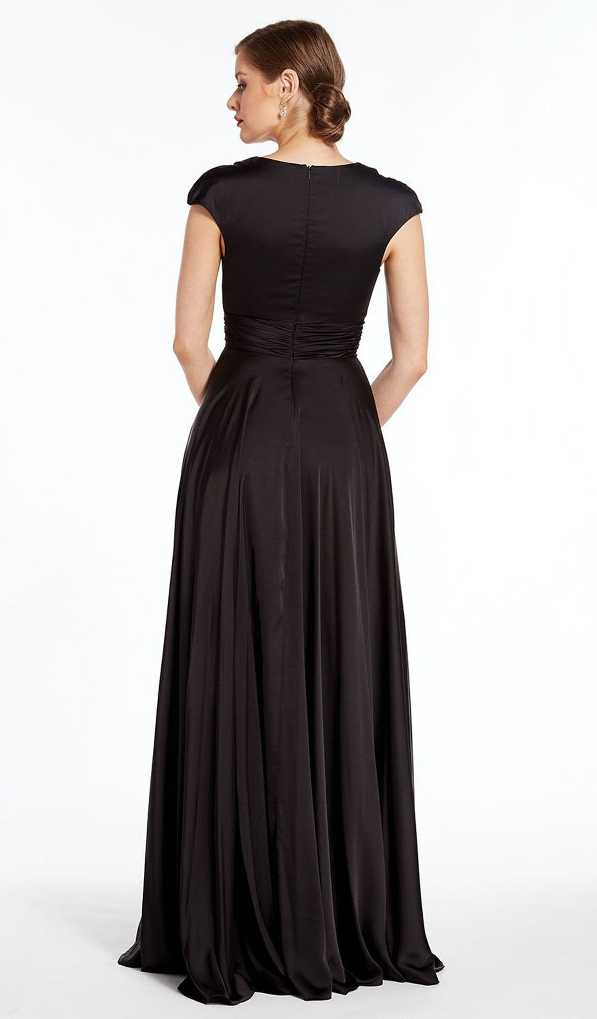 Alyce Paris - 27305 Satin Chiffon V Neck A-Line Dress In Black
