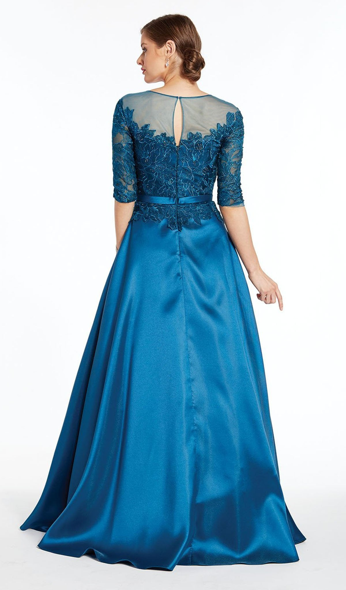 Alyce Paris - 27307 Quarter Sleeve Illusion Neckline Lace Mikado Gown In Blue
