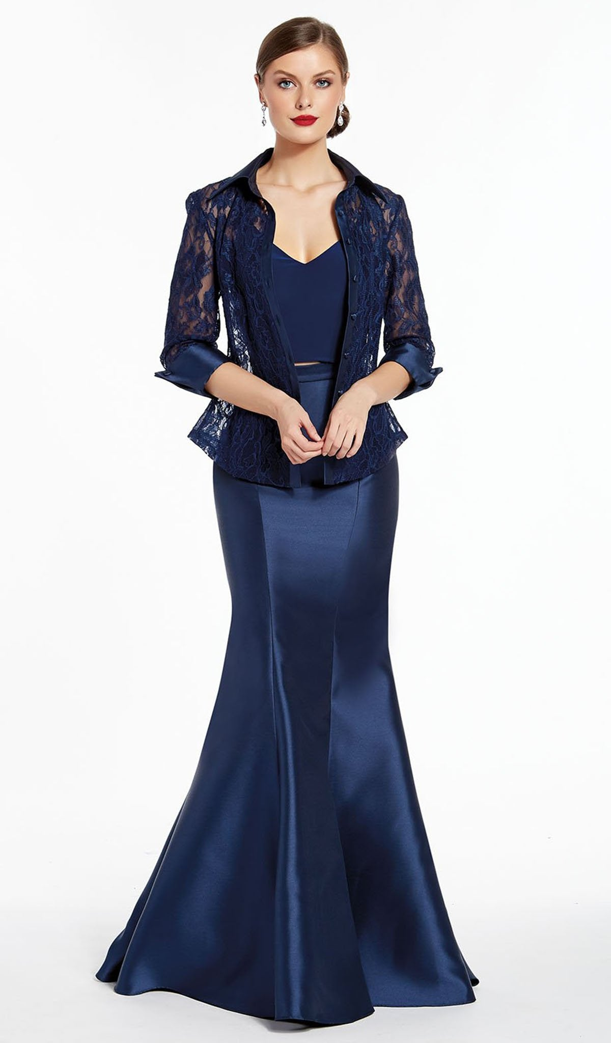 Alyce Paris - 27317 Three-Piece Gown With Collared Lace Jacket In Blue