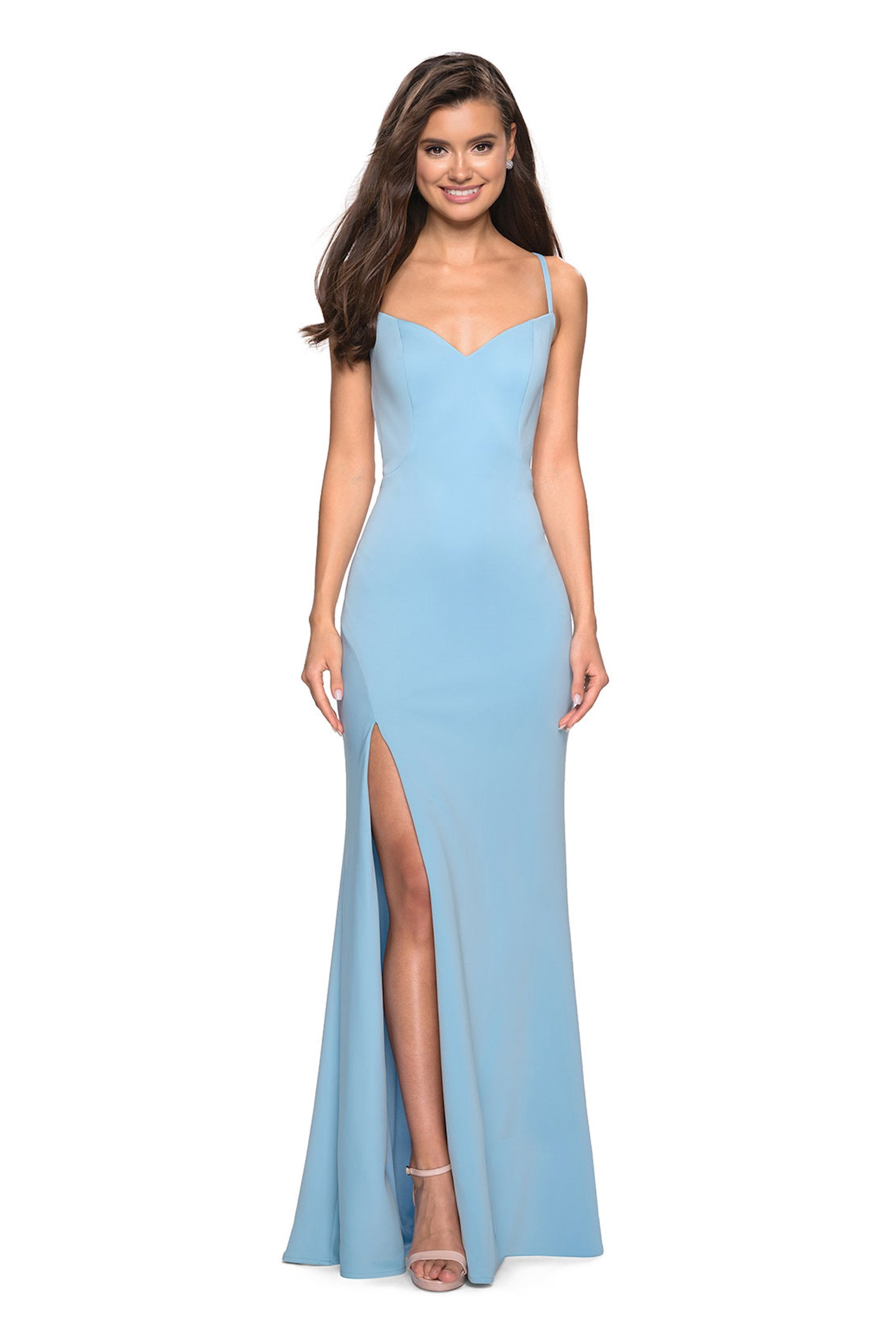 La Femme - Long Crisscross-Strapped High Slit Gown 27657  In Blue
