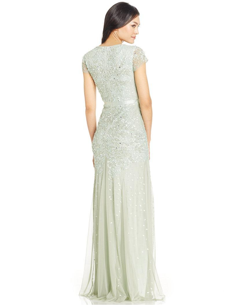 Adrianna Papell - Sequined Sheath Gown 91891700 in Green