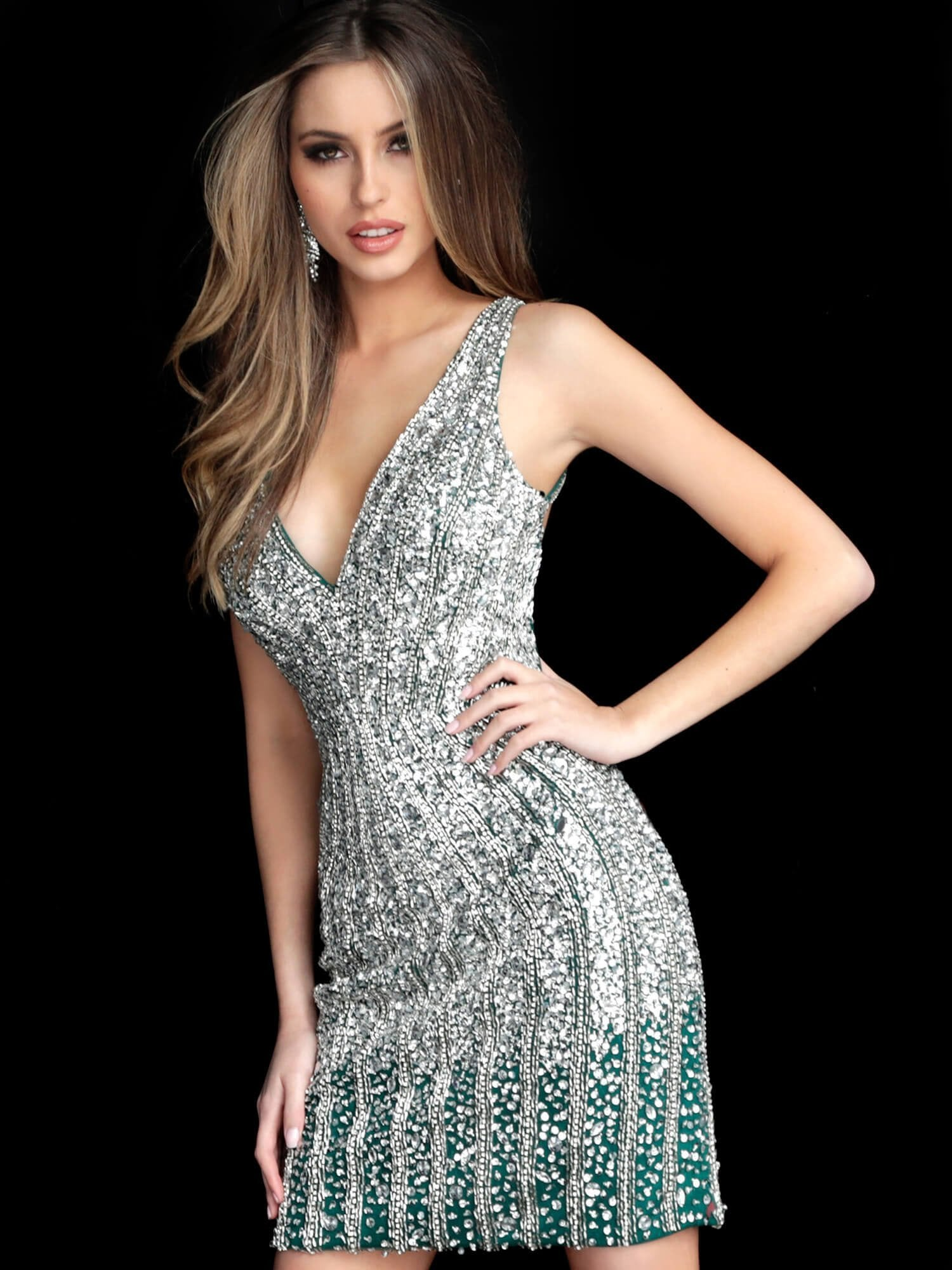 Jovani - Ornate Plunging Bodice Sheath Dress 2804SC In Silver