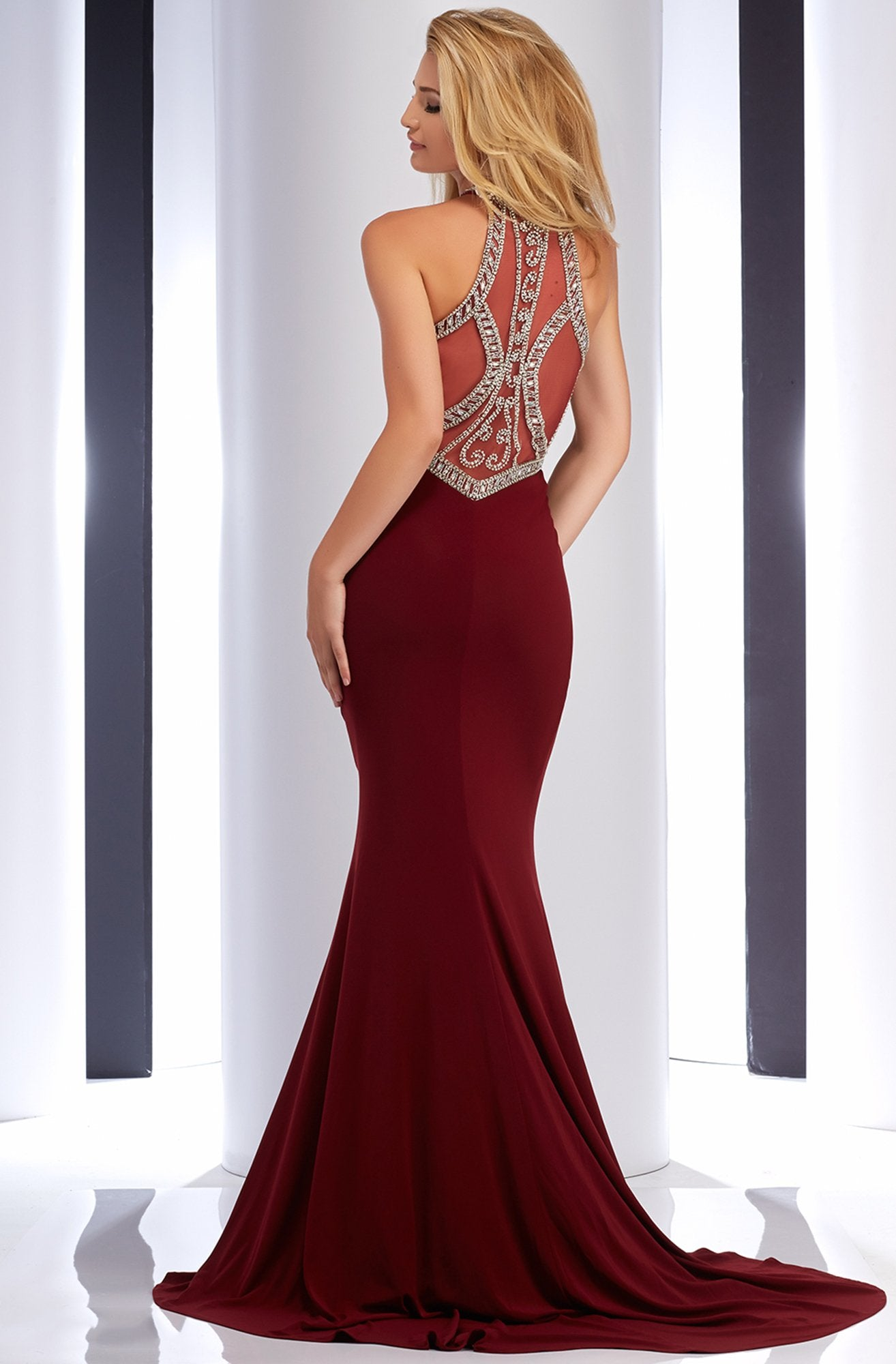 Clarisse - 2807 Crystal Festooned Halter Gown in Red