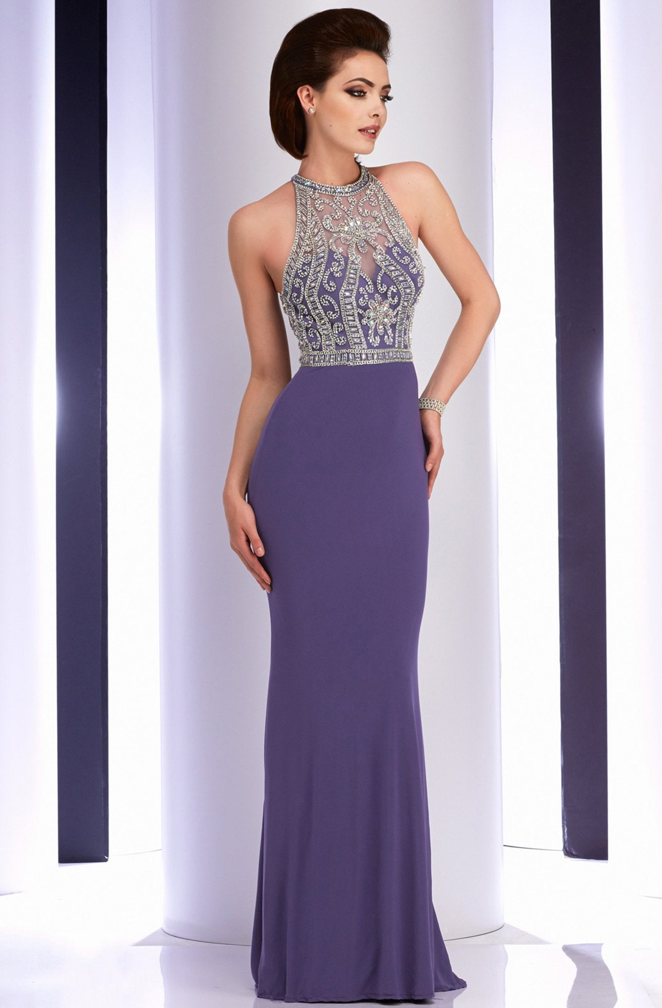 Clarisse - 2807 Crystal Festooned Halter Gown in Purple