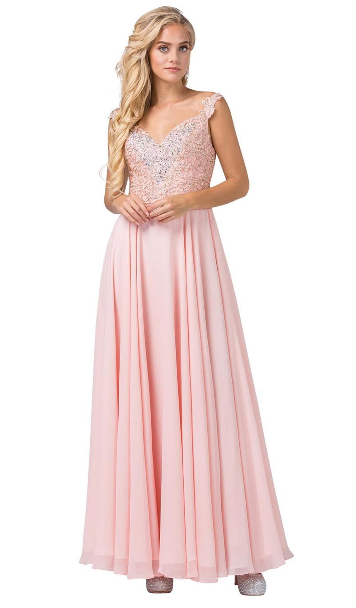 Dancing Queen - 2818 Beaded Lace Bodice Lace-Up Back Chiffon Gown In Pink