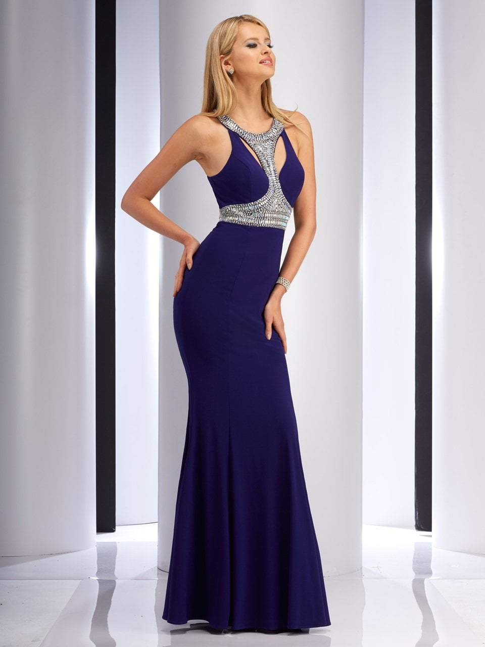 Clarisse - 2839 Bedazzled Halter Sheath Dress in Blue