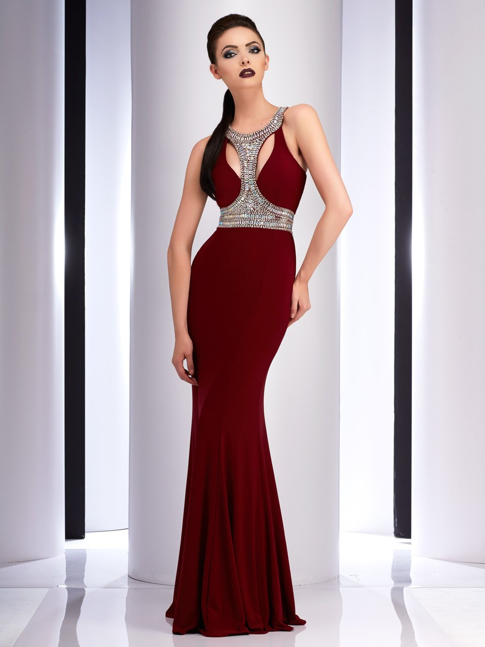 Clarisse - 2839 Bedazzled Halter Sheath Dress in Red