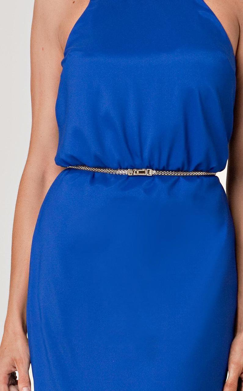 JS Collection - 862675 Sleeveless Sleek Satin Belted Dress in Blue