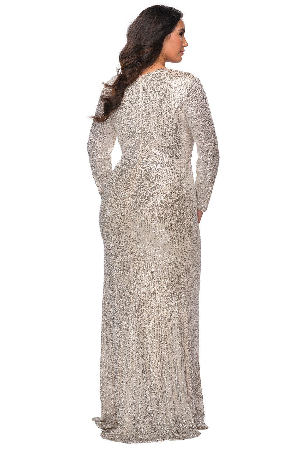 La Femme - 28880SC Allover Sequin Long Sleeve High Slit Evening Gown