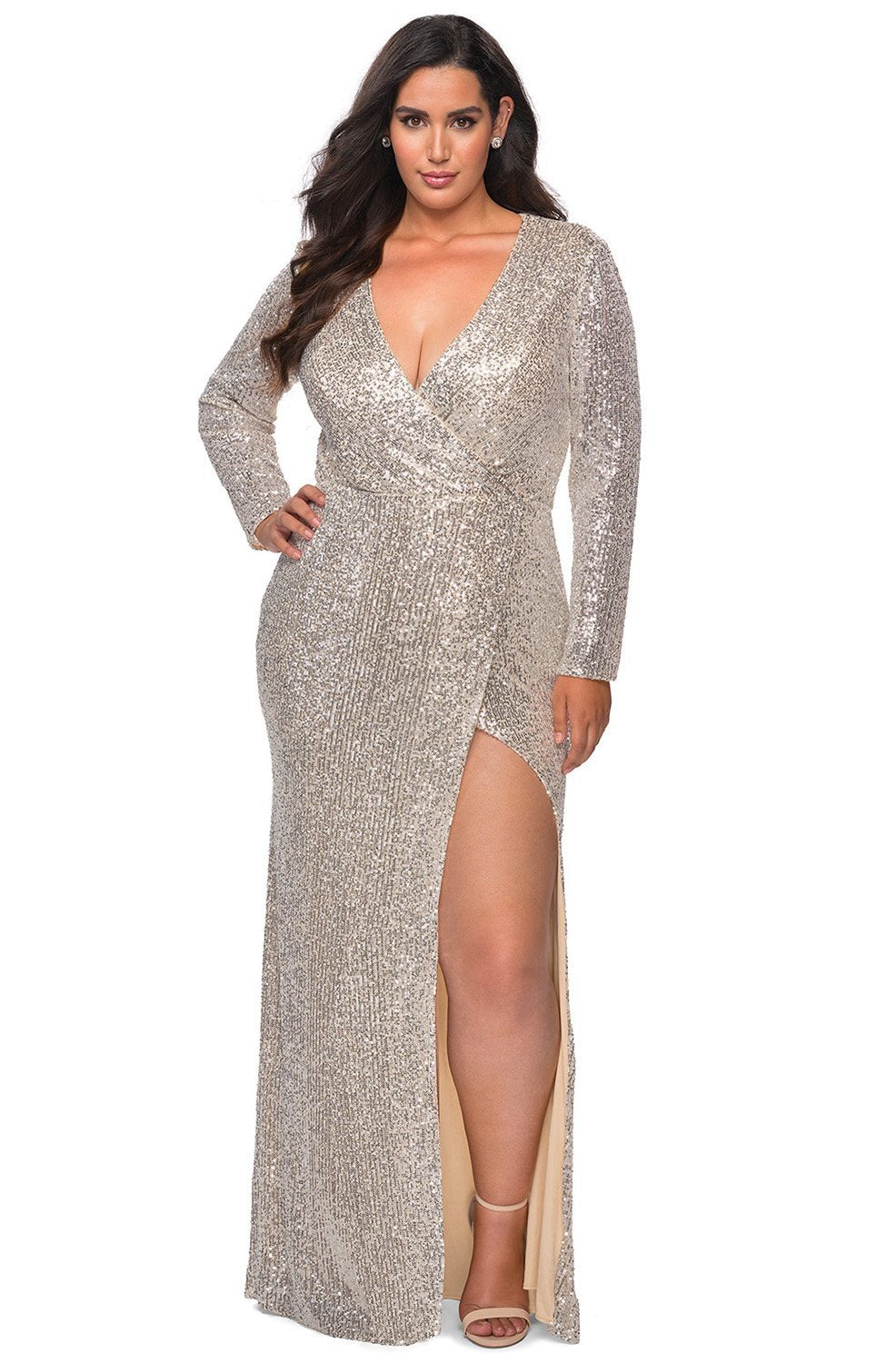 La Femme - Sequined Long Sleeve High Slit Dress 28880SC In Silver