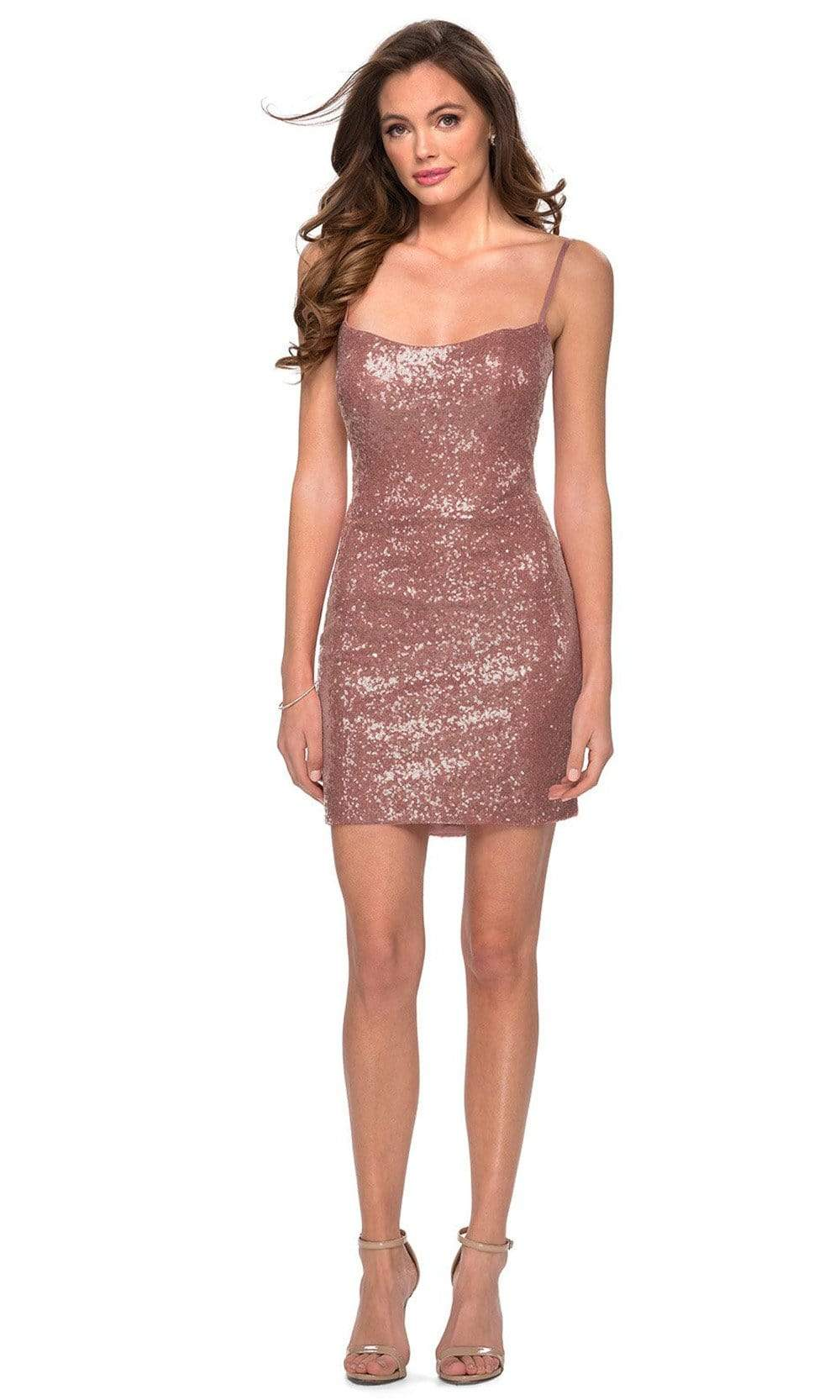 La Femme - 29292 Fitted Sequined Scoop Neck Cocktail Dress Party Dresses 00 / Rose Gold