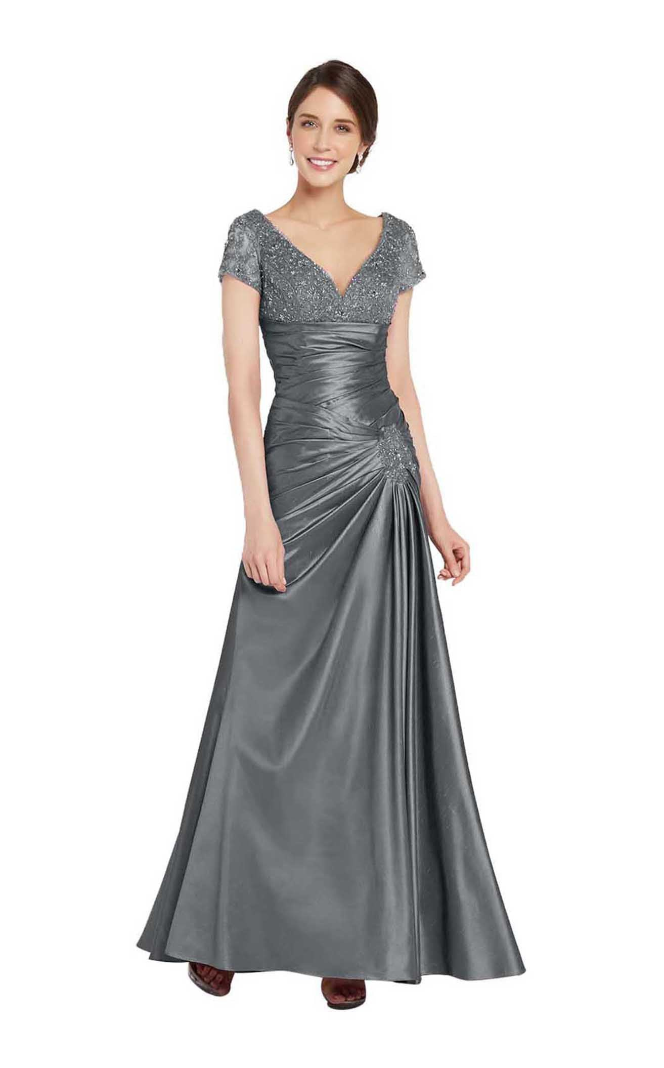 Alyce Paris 29357 Cap Sleeve Lace Ornate Empire Trumpet Gown - 2 pcs Pewter In Size 16 and 24 Available