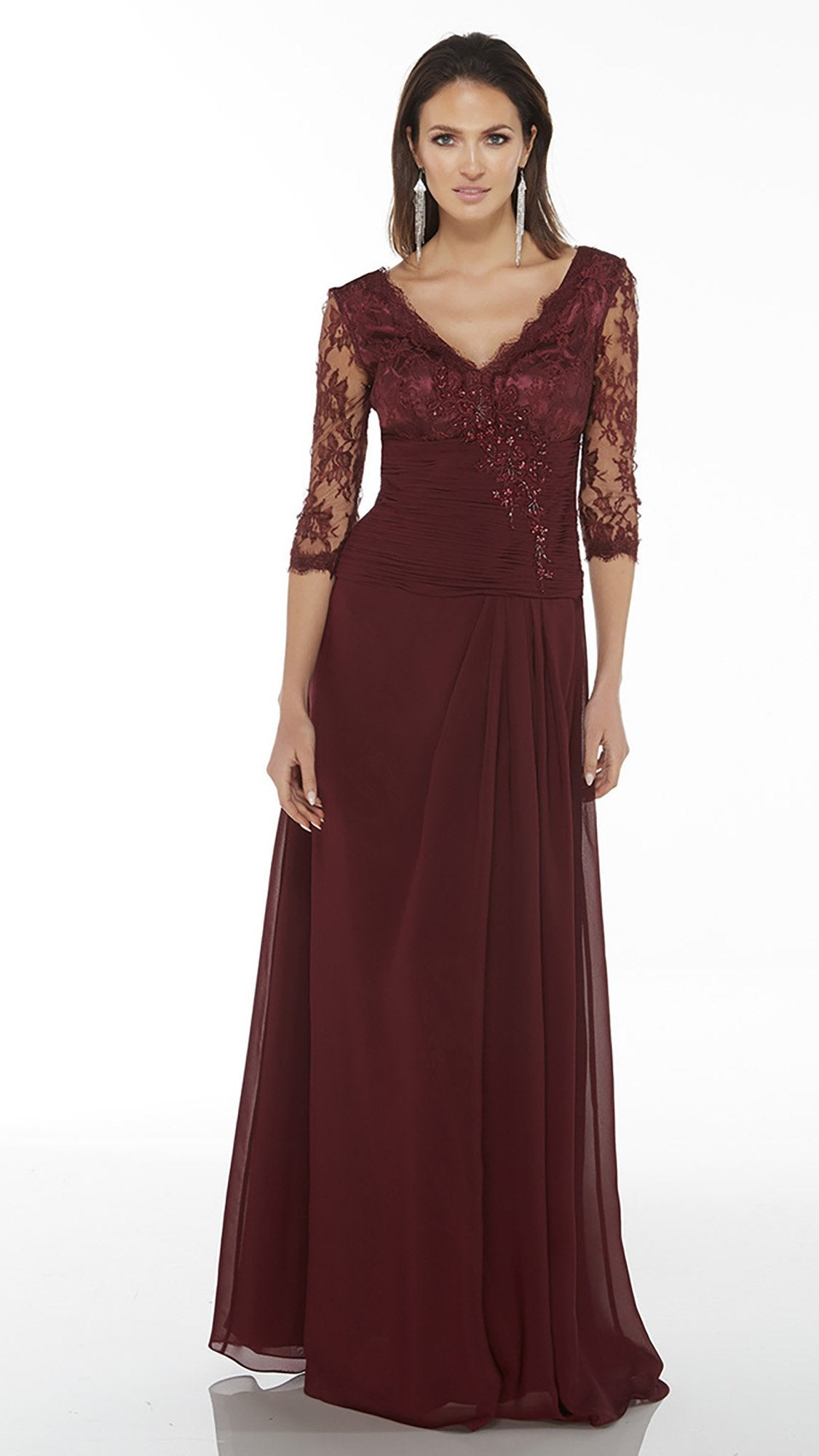 Alyce Paris - 29364SC Beaded Ruched Midriff A-Line Dress