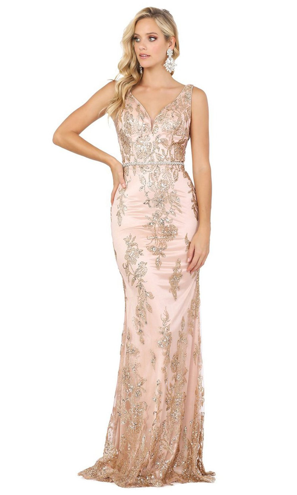 Dancing Queen - Embellished V Neck Mermaid Dress 2946 In Pink and Gold
