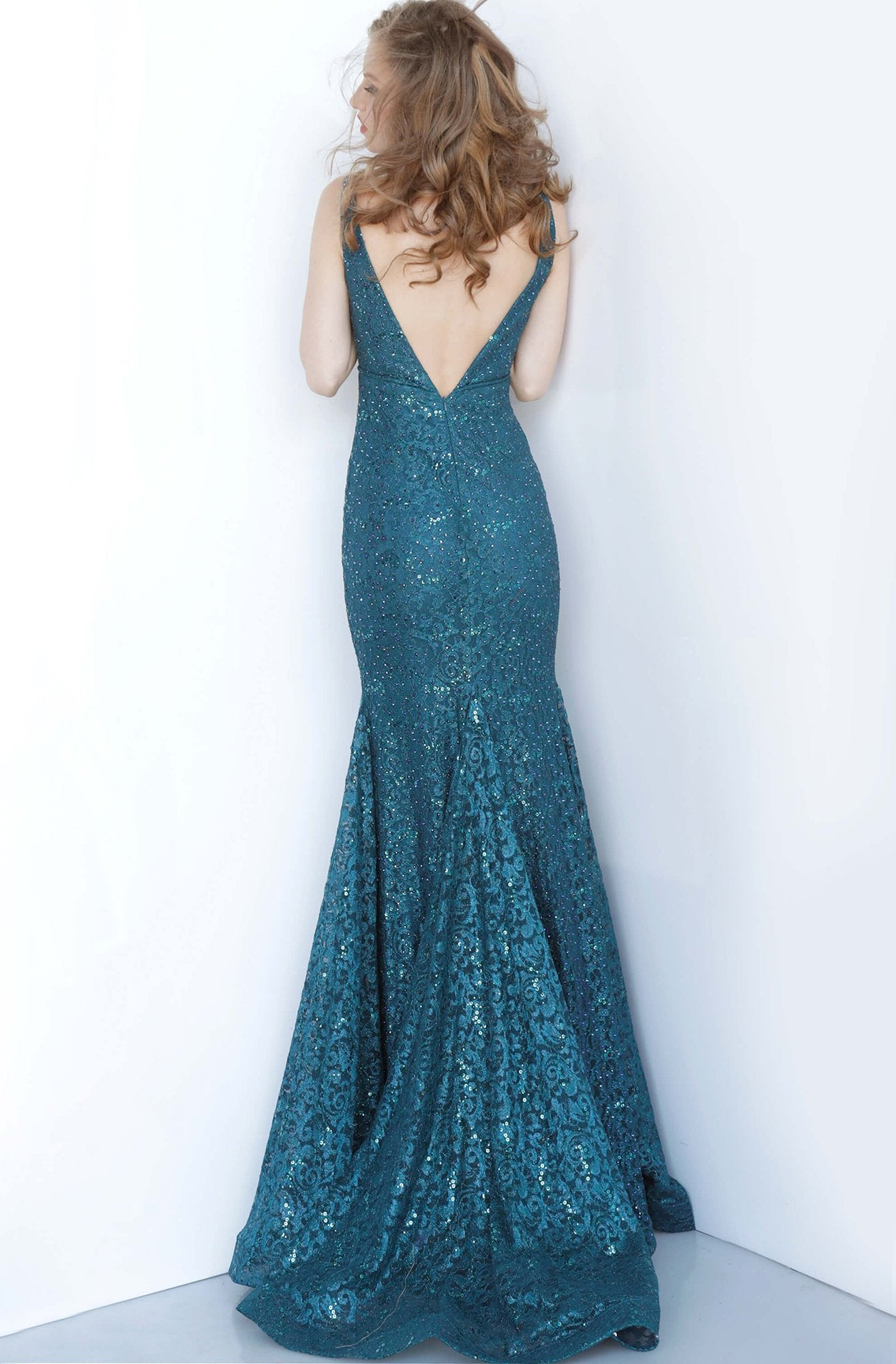 Jovani - 2967 Plunging Neckline Sleeveless Beaded Lace Mermaid Gown In Blue and Green