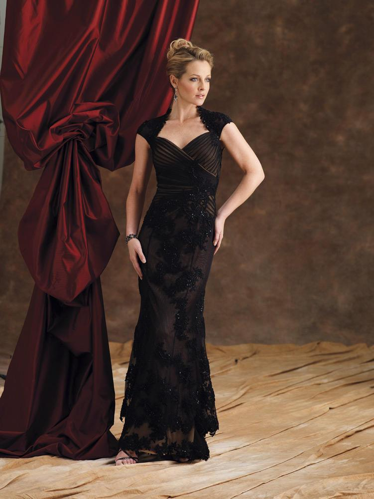Montage by Mon Cheri - 29973 Queen Anne Style Neckline Evening Dress In Black and Neutral