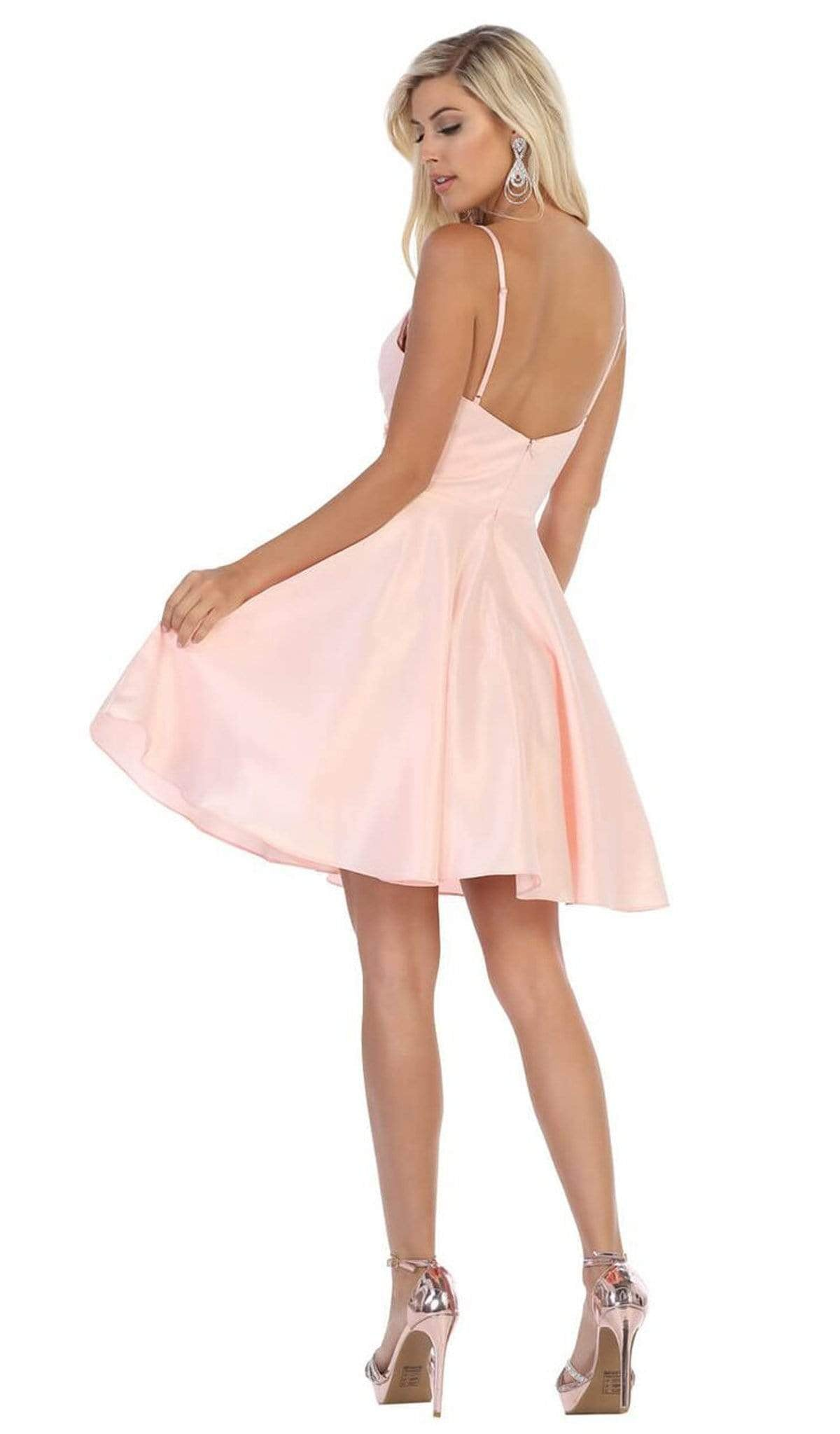 May Queen - MQ1654 V Neck Sleeveless Fit and Flare Short Dress In Pink