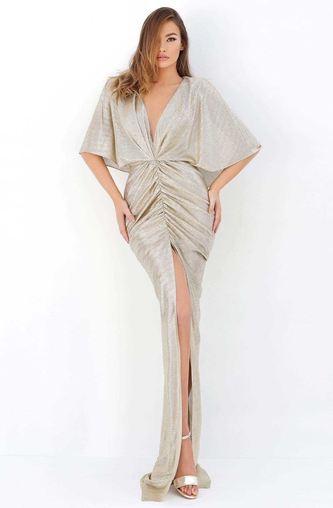 Tarik Ediz - Cape Sleeve Ruche-Ornate High Slit Gown 93807 In Gold