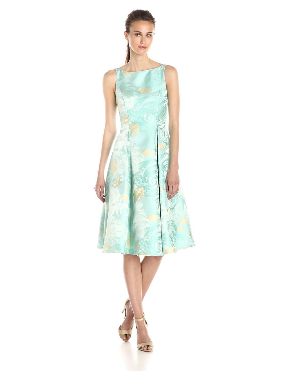 Adrianna Papell - 41889270 Tea-Length Jacquard Floral Print Dress in Green and Floral