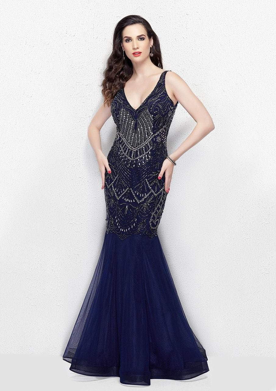 Primavera - 3001 Embellished V-neck Trumpet Dress in Blue