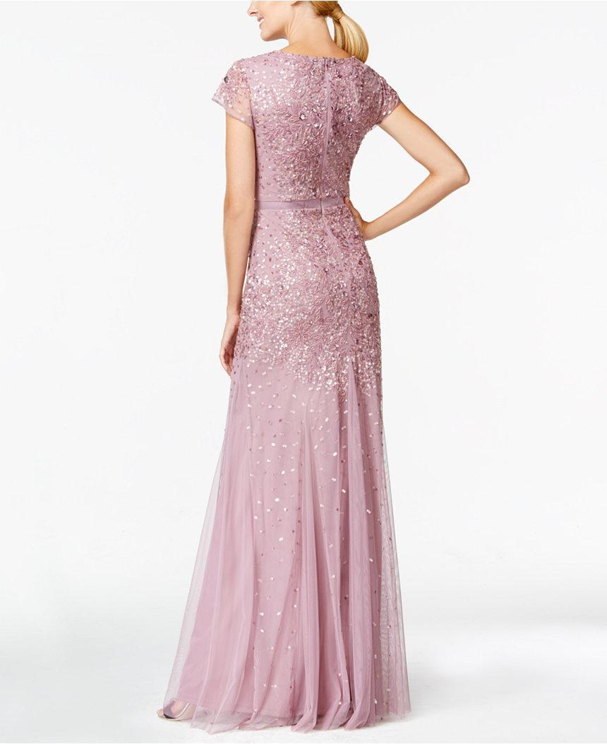 Adrianna Papell - Sequined Sheath Gown 91891700 in Pink