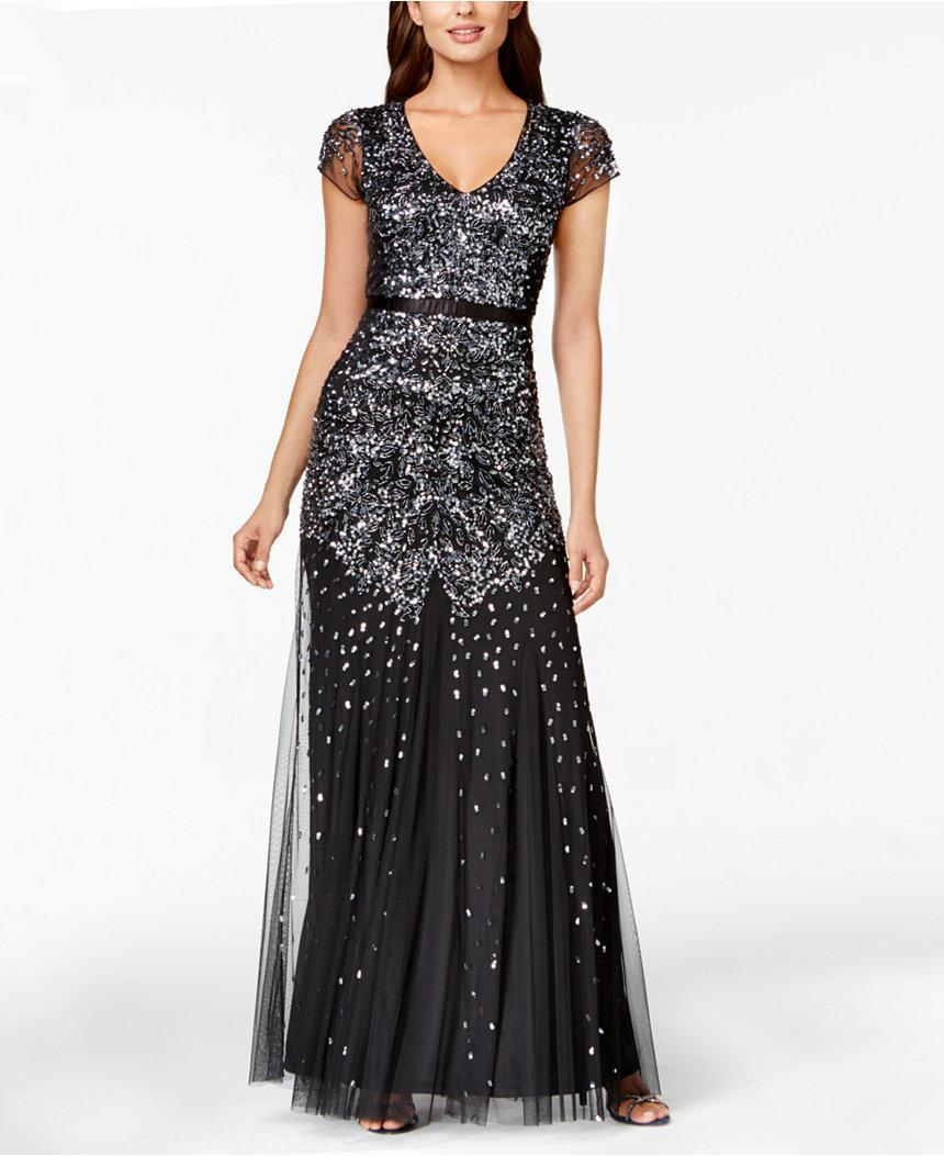 Adrianna Papell - Sequined Sheath Gown 91891700 in Gray
