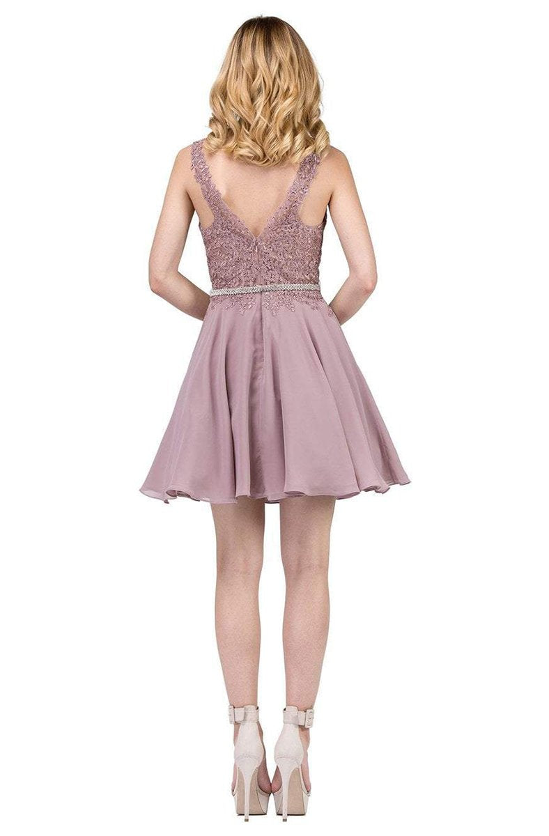 Dancing Queen - Plunging V-Neck Lace Bodice Homecoming Dress 3011 In Brown