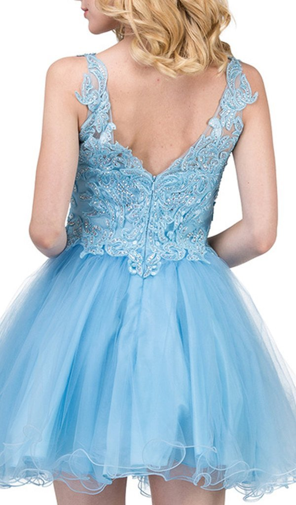 Dancing Queen - 3022 Lace Embroidered V Neck Cocktail Dress In Blue