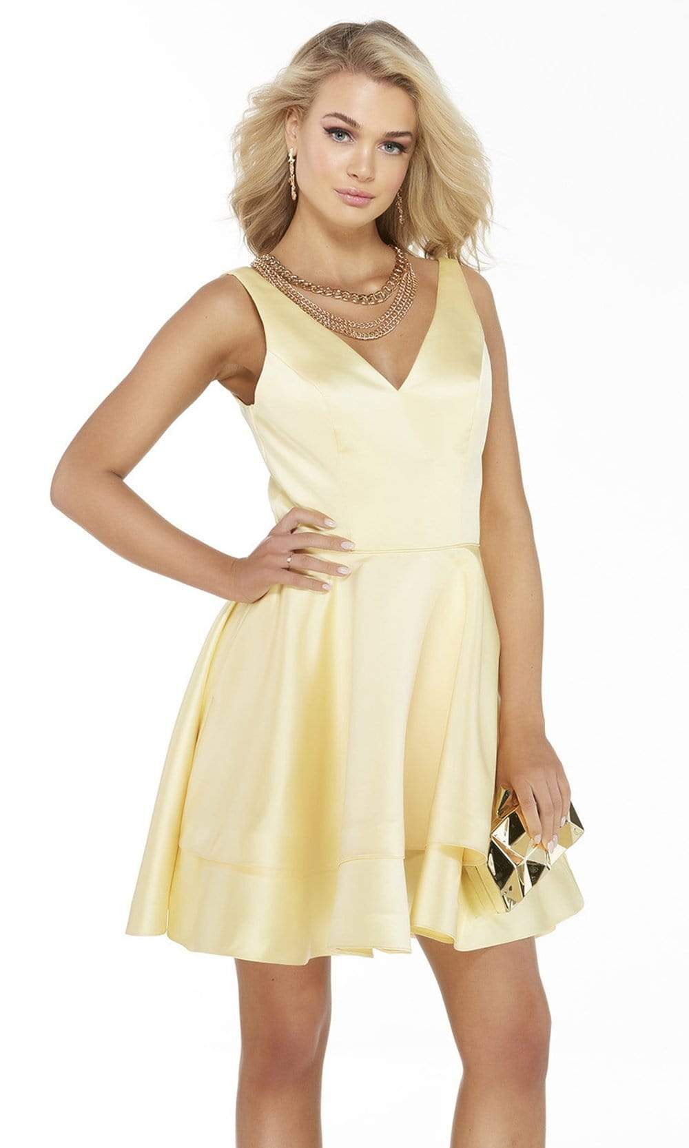 Alyce Paris - 3023 Luxe Silk Satin Sleeveless V Neck A-Line Dress Homecoming Dresses 000 / Light Yellow
