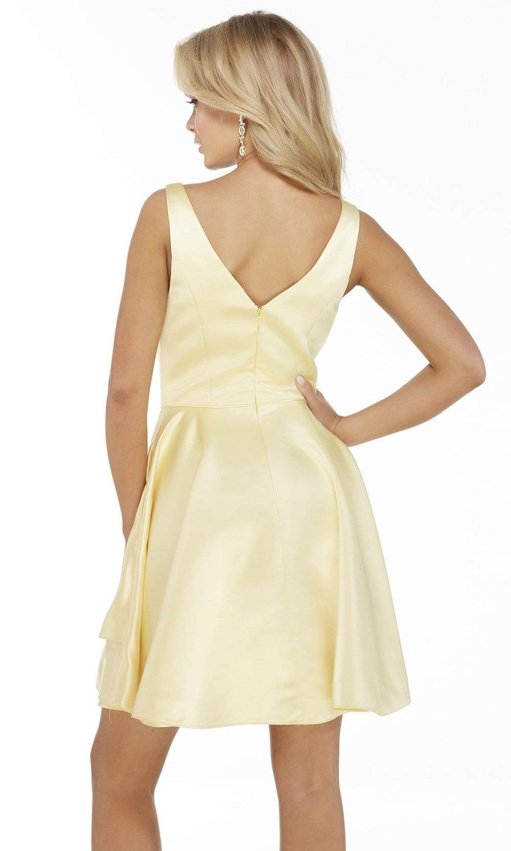 Alyce Paris - 3023 Luxe Silk Satin Sleeveless V Neck A-Line Dress Homecoming Dresses