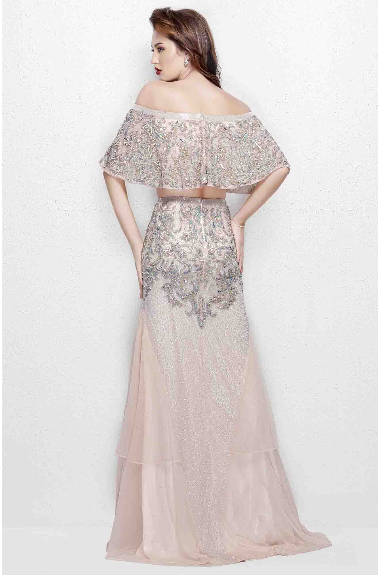 Primavera - 3034 Two Piece Embellished Dress in Pink