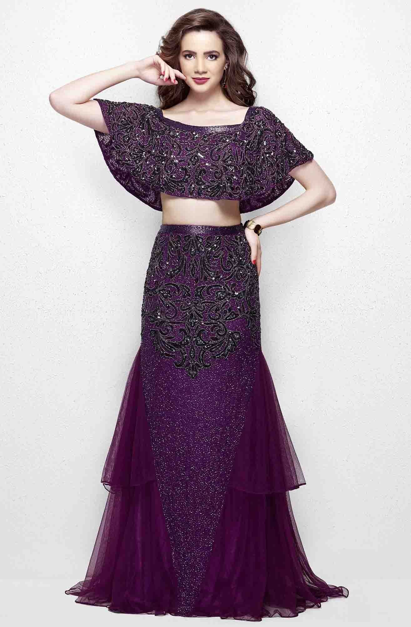 Primavera - 3034 Two Piece Embellished Dress in Purple