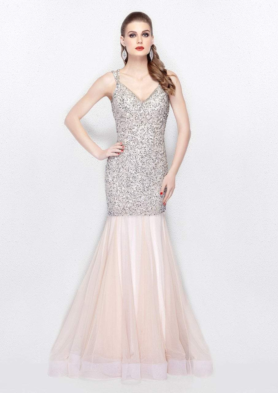 Primavera - 3039 Sparkling Sequined Sleeveless Mermaid Gown in Pink