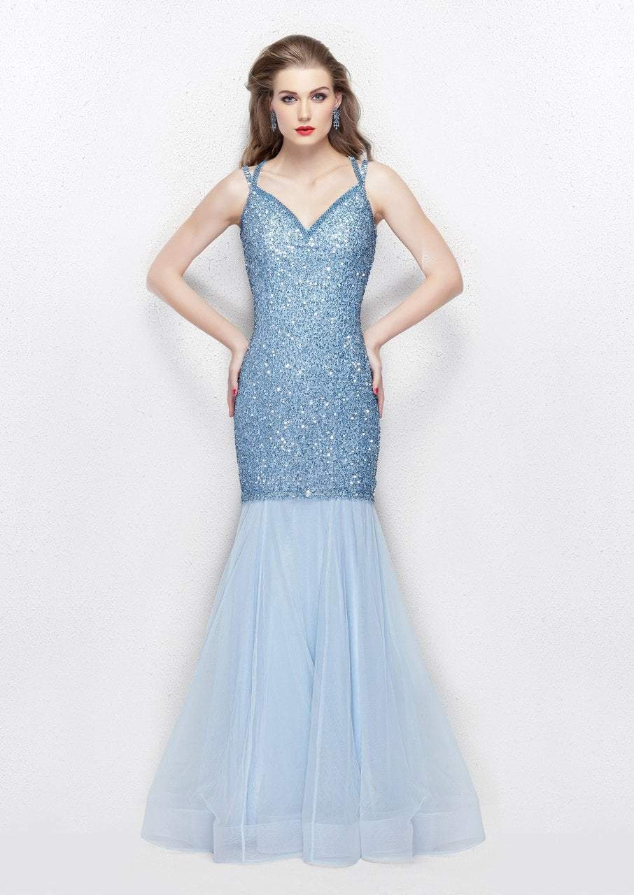Primavera - 3039 Sparkling Sequined Sleeveless Mermaid Gown in Blue