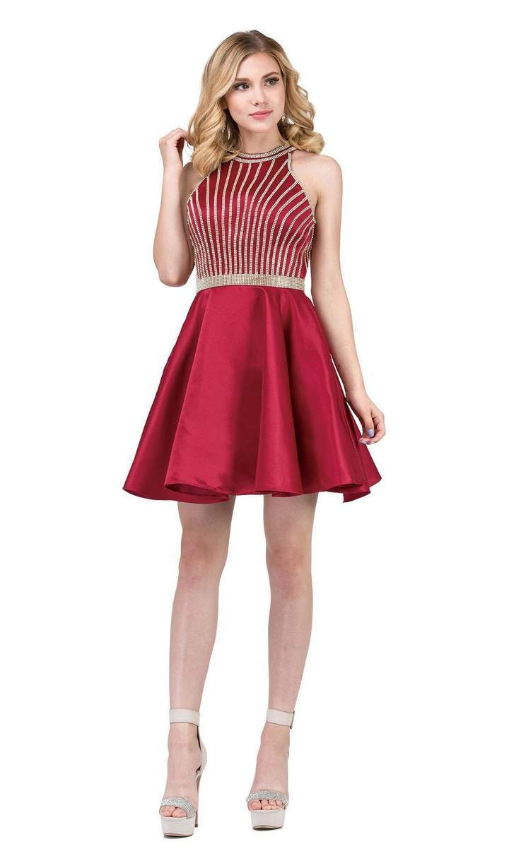 Dancing Queen - Gold Beaded Halter Neck A-line Homecoming Dress 3041 In Red
