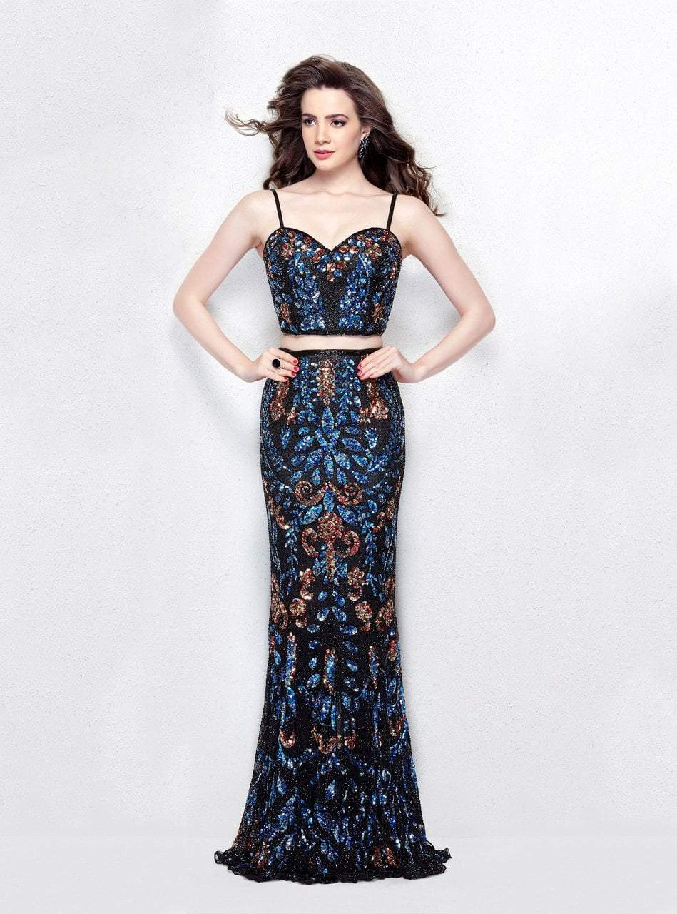 Primavera - 3041 Two-Piece Shimmering Beaded Evening Gown in Black and Multi-Color