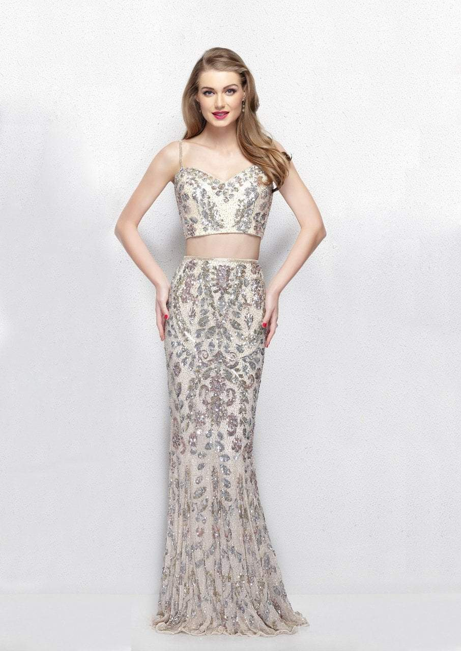Primavera - 3041 Two-Piece Shimmering Beaded Evening Gown in Pink and Multi-Color