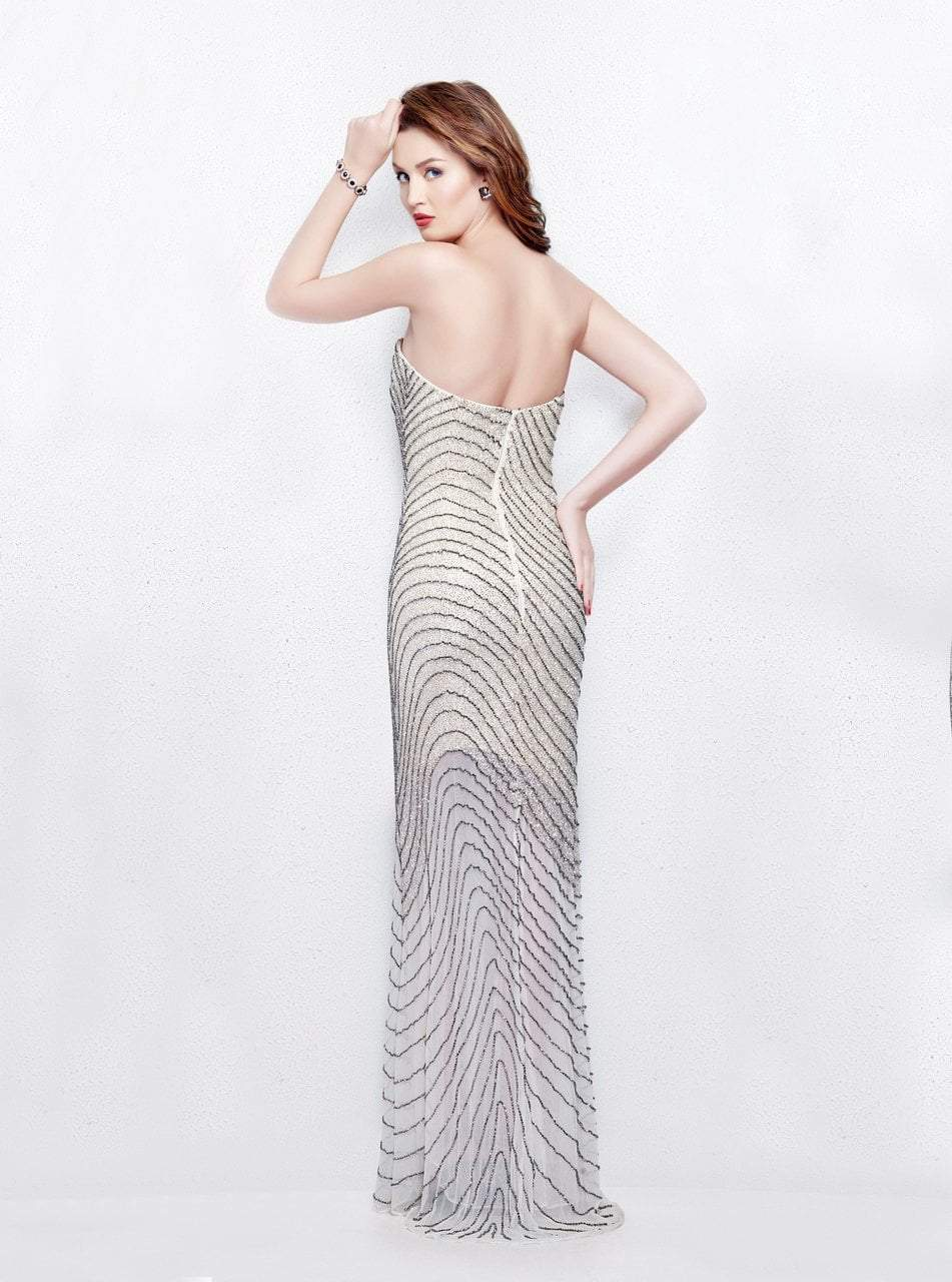 Primavera - 3045 Strapless Swirl Suffused Evening Gown in Neutral and Silver