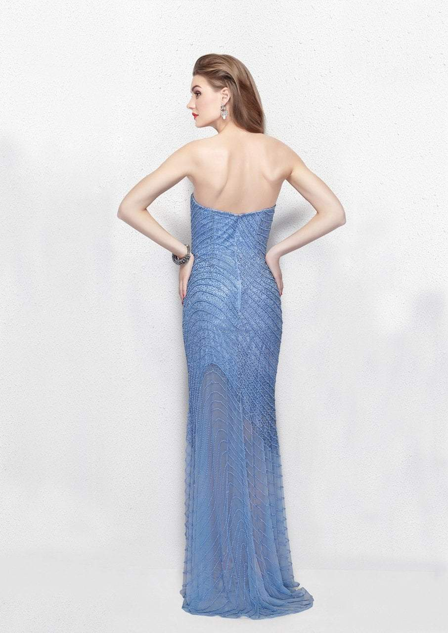 Primavera - 3045 Strapless Swirl Suffused Evening Gown in Blue
