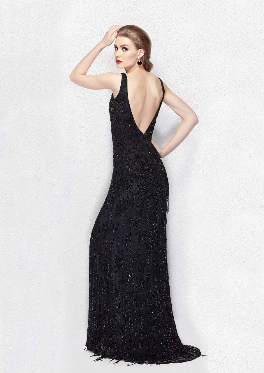 Primavera - 3046 Posh Bejeweled Sleeveless Evening Gown in Black
