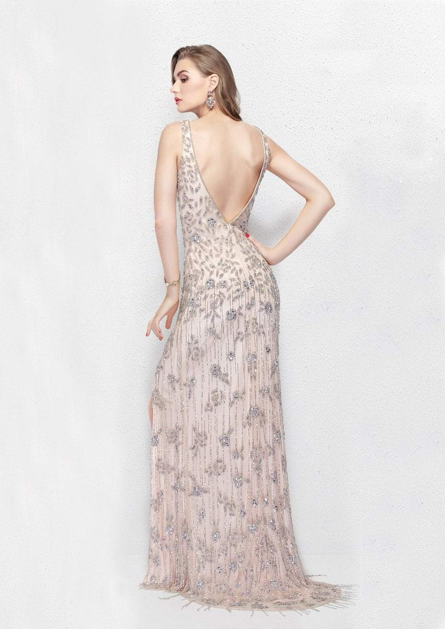 Primavera - 3046 Posh Bejeweled Sleeveless Evening Gown in Pink and Silver