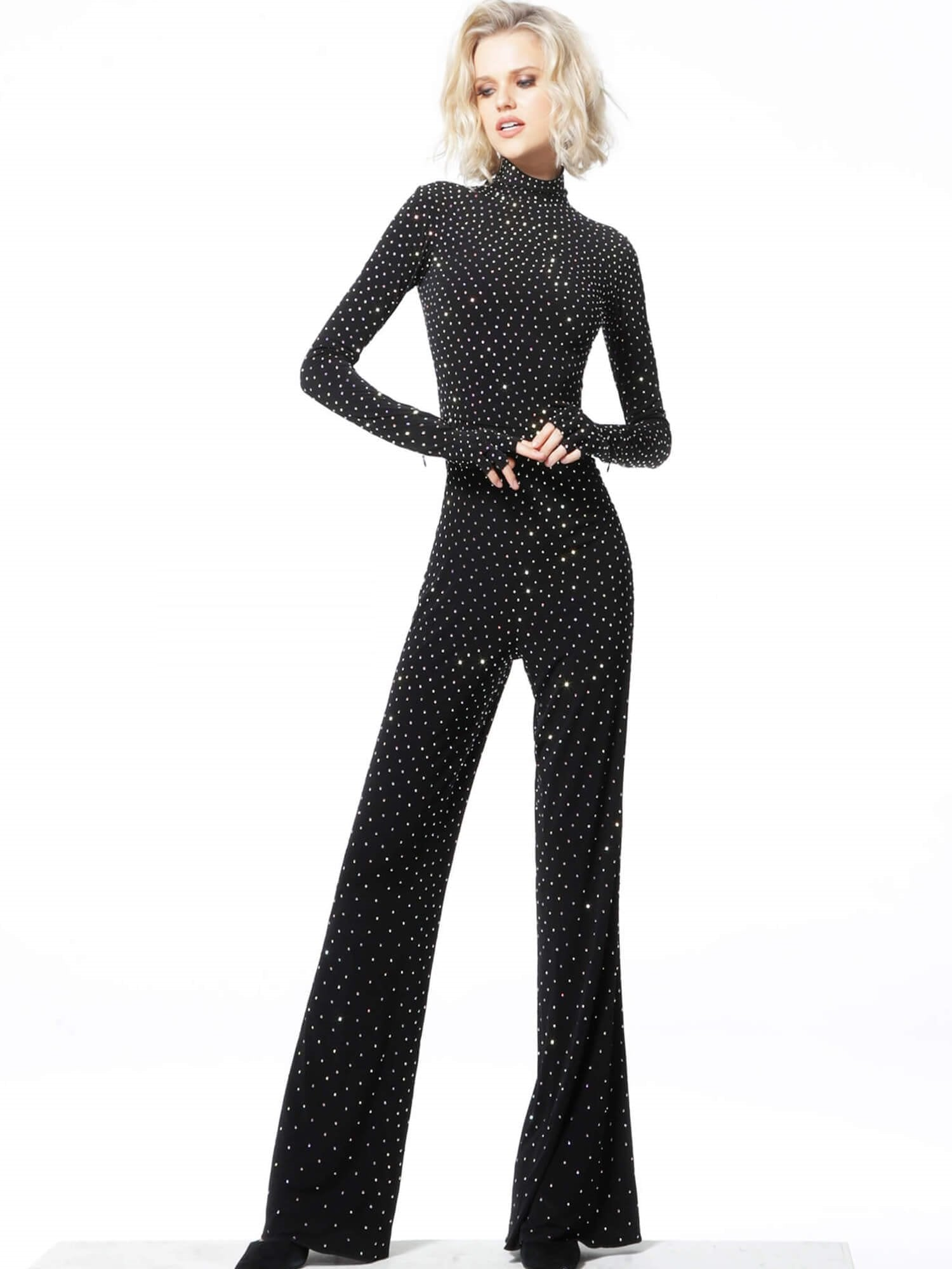 Jovani - Beaded High Neck Long Sleeve Jumpsuit 3048SC In Black