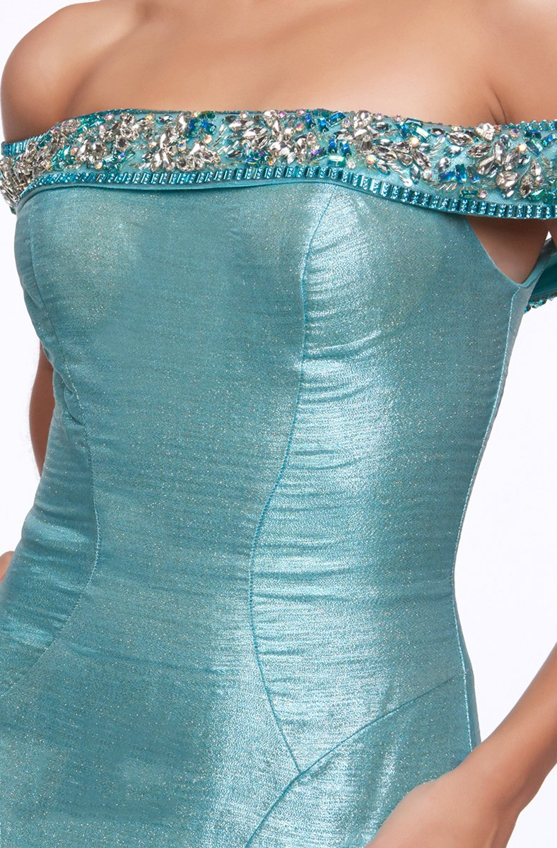 Cassandra Stone - 30577A Embellished Off Shoulder Taffeta Mermaid Gown in Blue and Green